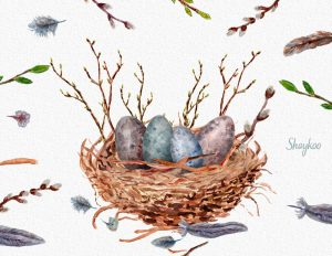 Watercolor Easter Eggs Cliparts